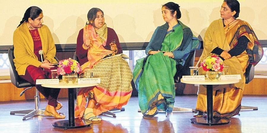 (Above, L-R) Padmapriya Janakiraman, Priyanka Singh, Mridula Tangirala, and Vinita Srivastava at the panel discussion;