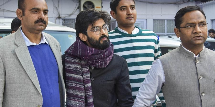 Former JNU student and CAA activist Sharjeel Imam accused of allegedly making inflammatory statements is taken to court from the crime branch at Chanakyapuri in New Delhi