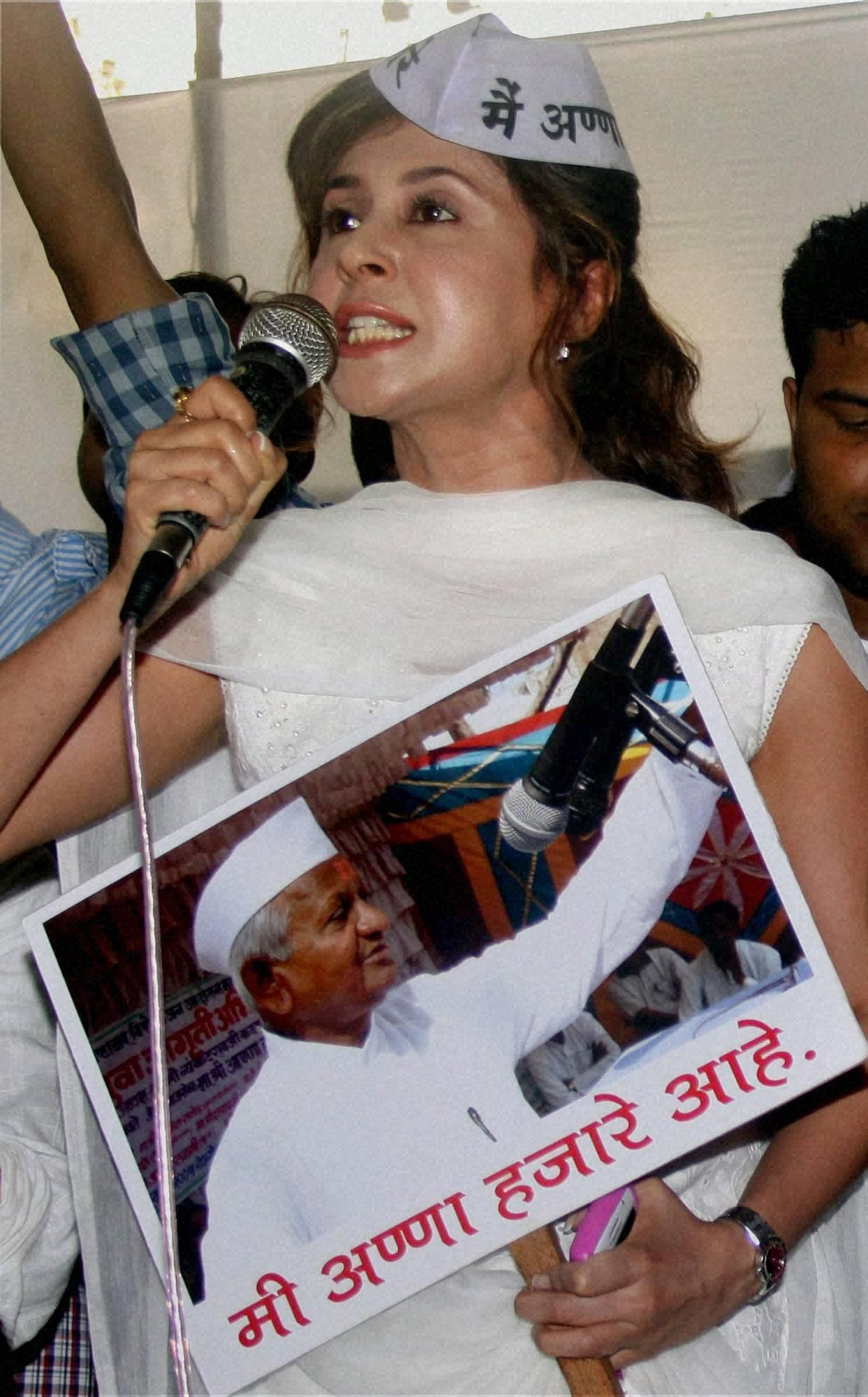 Bollywood actress Urmila Matondkar takes part in a rally against corruption in support of Anna Hazare and Lokpal Bill in Mumbai.