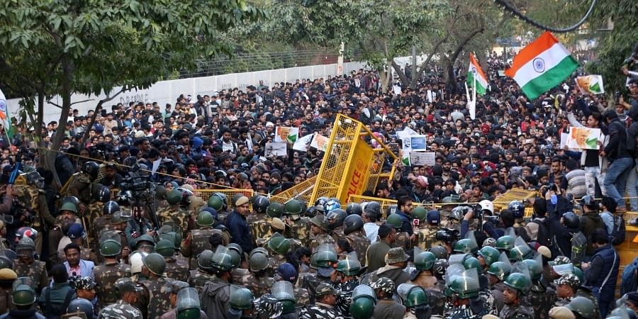 Students try to breach the police barricading during thier protest march against the Citizenship Amendment Act and National Register of Citizens near Jamia Millia Islamia university in New Delhi Thursday Jan. 30 2020. (Photo | Shekhar Yadav/EPS)