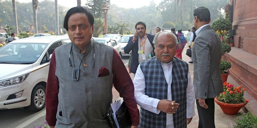 Congress MP Shashi Tharoor at Parliament in New Delhi