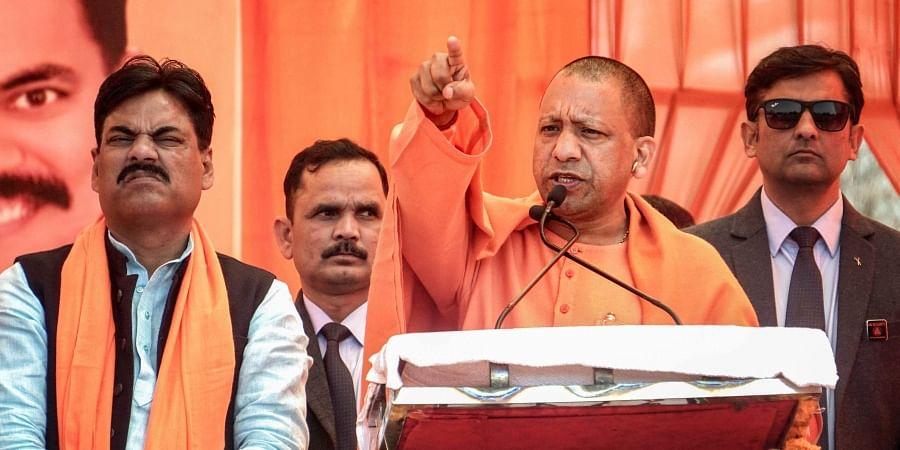 Uttar Pradesh Chief Minister Yogi Adityanath addresses an election campaign for the upcoming Delhi Assembly polls at Uttam Nagar in New Delhi Monday Feb. 3 2020. (Photo | PTI)