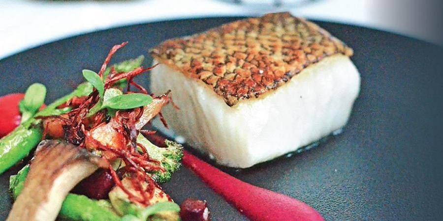 Chilean Sea Bass with Beetroot and Pink Pepper