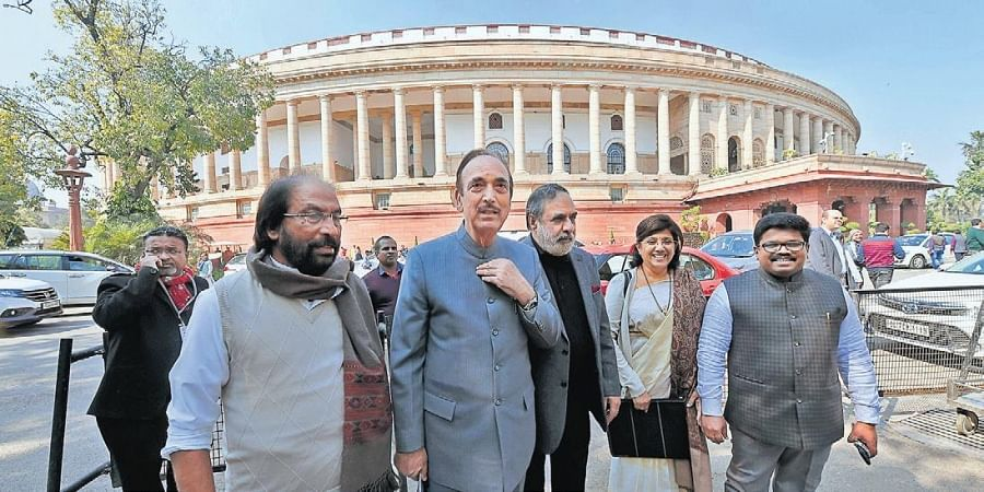 Congress leaders Ghulam Nabi Azad and Anand Sharma, DMK MP Tiruchi Siva and others in Parliament