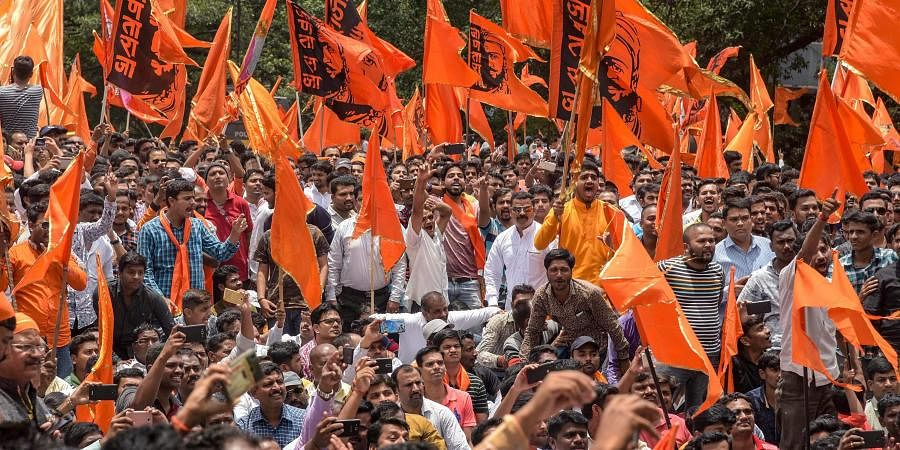 Maratha Kranti Morcha activists during a protest over their demands for reservations