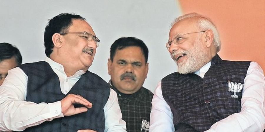PM Narendra Modi with BJP chief JP Nadda on Tuesday