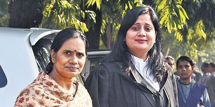 Nirbhaya rape and murder case victim's mother (L) outside the SC
