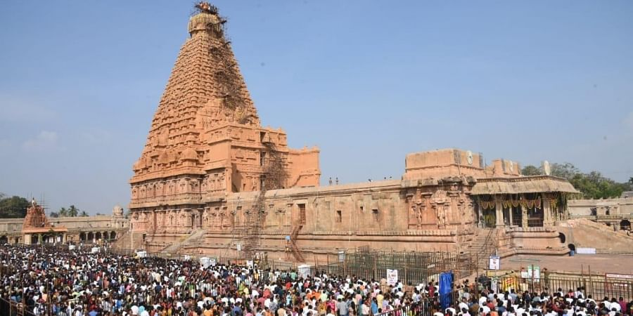 Large number of devotees waiting Maha Sambrosanam at Thanjavur Big Temple.