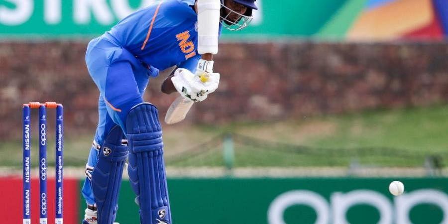 India's batsman Yashasvi Jaiswal plays a shot during the ICC Under-19 World Cup cricket semi-final. (Photo | AFP)
