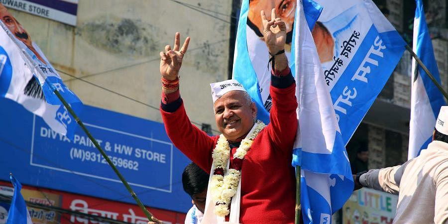 Delhi Deputy CM Manish Sisodia during the Election Rally at Patparganj Vidhan Sabha. (Photo|ANI)