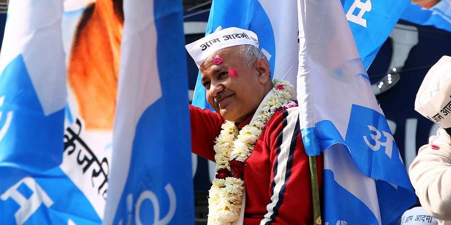 Delhi dyCM Manish Sisodia during an election Rally at Patparganj in New Delhi on Thursday