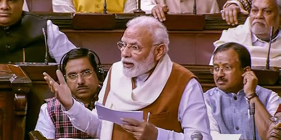 PM Narendra Modi speaks during the Motion of Thanks on the President's Address in the Rajya Sabha