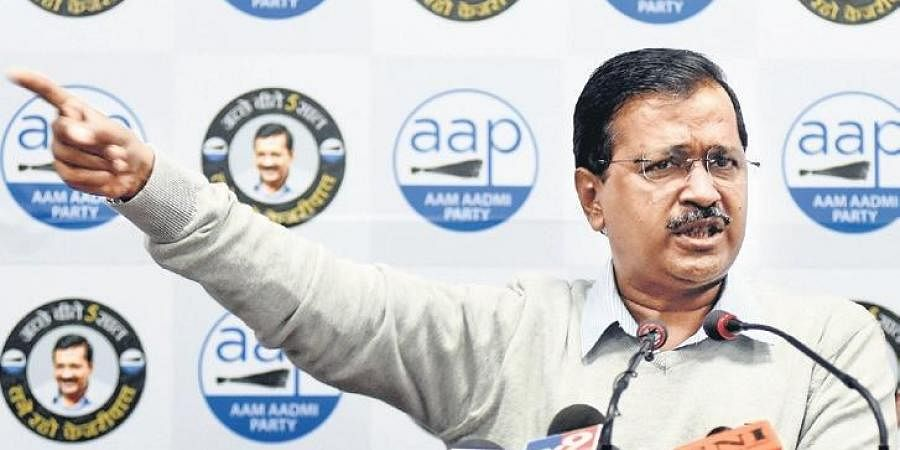 Chief Minister and AAP convenor Arvind Kejriwal addresses a press conference at  his party office in New Delhi on Wednesday.