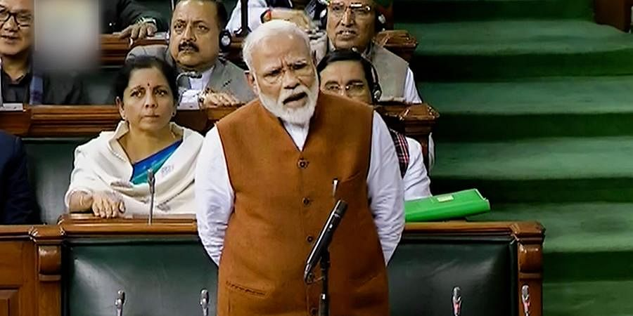 PM Narendra Modi speaks in the Lok Sabha, during the ongoing Budget Session of Parliament