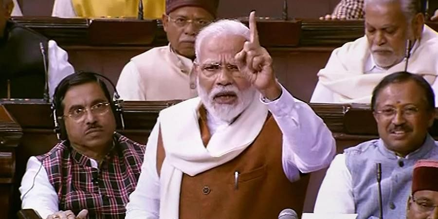PM Narendra Modi speaks during the Motion of Thanks on the President's Address in the Rajya Sabha
