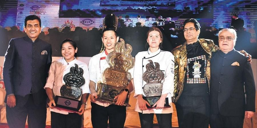 (Left to right) Chef Sanjeev Kapoor, Austin Cale Labago, Chen Khai Loong, Bethany Collings and Dr Suborno Bose The winner of YCO 2020 Chen Khai Loong from Malaysia was announced as the winner of the sixth International Young Chef Olympiad (YCO). Apart from receiving the YCO 2020 Champion trophy, Loong was awarded the Gold Toque and bagged the prize cheque of US$10,000 (J7,00,000).