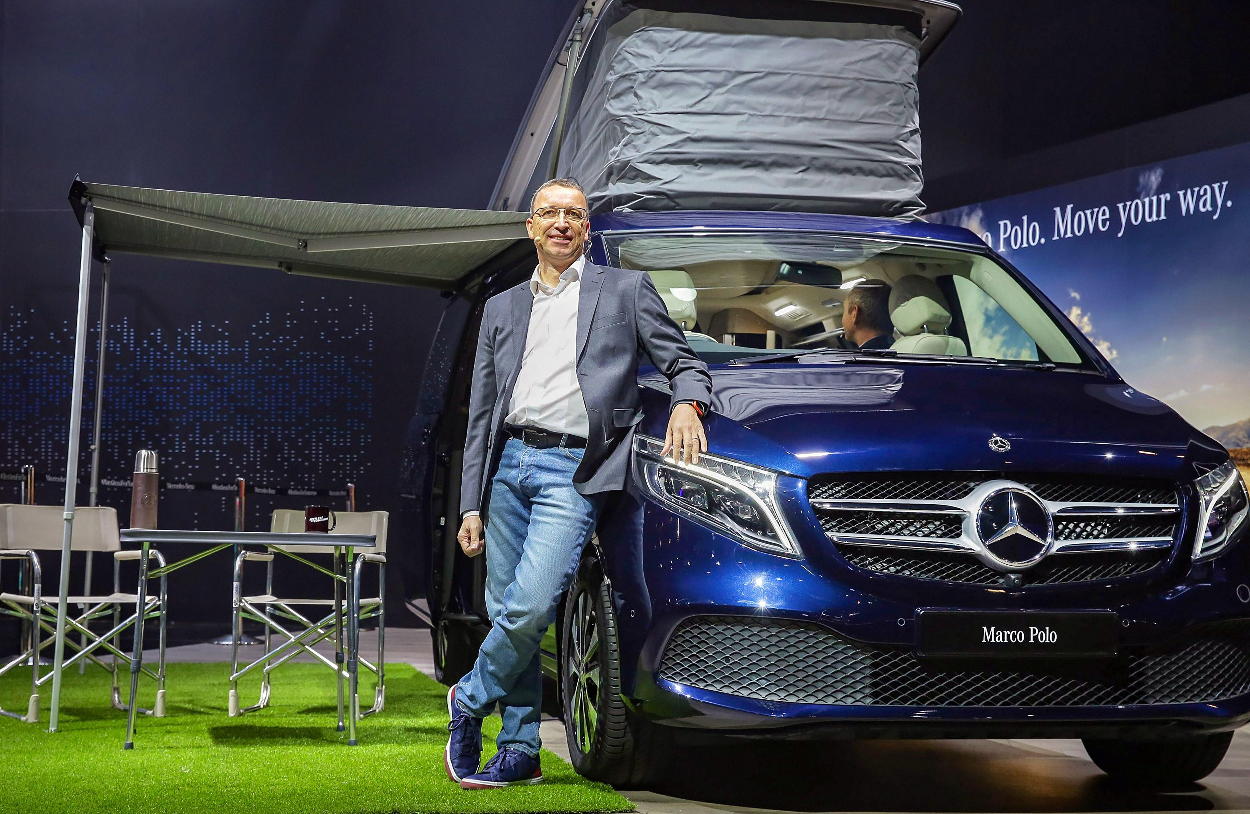 Mercedes-Venz unveils the V-Class Marco Polo MPV at the Auto Expo 2020, in Greater Noida