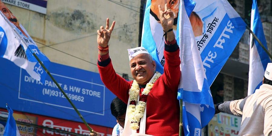 Delhi Deputy CM Manish Sisodia during the Election Rally at Patparganj Vidhan Sabha.