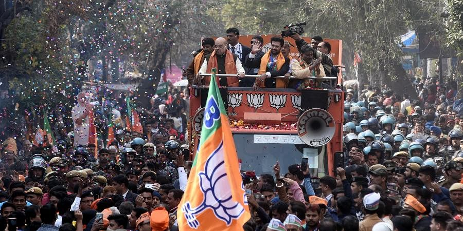 Union Home Minister and BJP leader Amit Shah during an election campaign rally ahead of the forthcoming Delhi Assembly elections at Seemapuri constituency in New Delhi on Thursday Feb. 6 2020. Delhi BJP chief Manoj Tiwari and Lok Janshakti Party leader Chirag Paswan are also seen. (Photo | Parveen Negi/EPS)