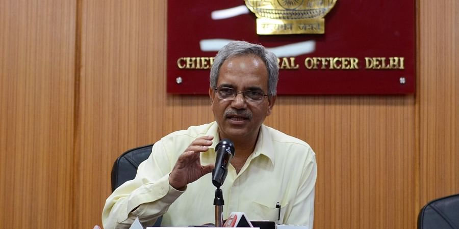 Chief Election Officer of Delhi Dr. Ranbir Singh addressing the media during a press conference in New Delhi.