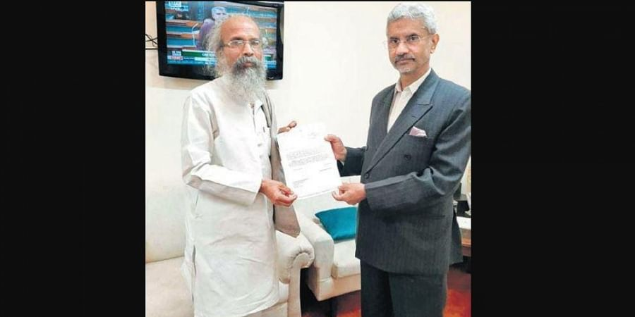 Pratap Sarangi with External Affairs Minister S Jaishankar on Thursday