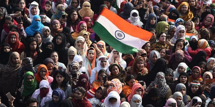 The Indian national flag was unfurled by the protestors at Shaheen Bagh in the national capital on the occasion of 71st Republic Day.