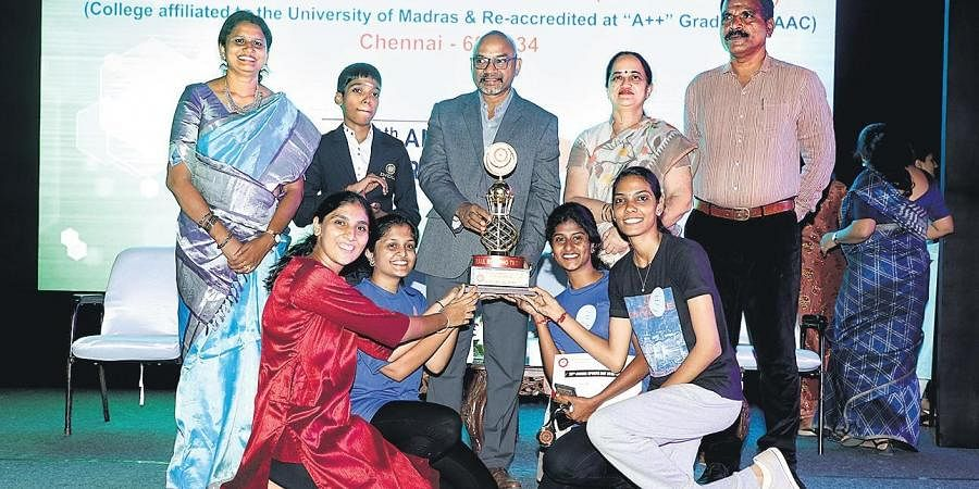 B Com Accounting and Finance (shift I), winners of the overall championship at the annual sports day of MOP Vaishnav College for Women on Friday.