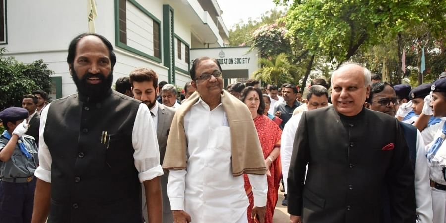 Former Union Minister P Chidambaram along with Congress MP Uttam Kumar Reddy at Muffakham Jah college of Engineering and Technology in Hyderabad