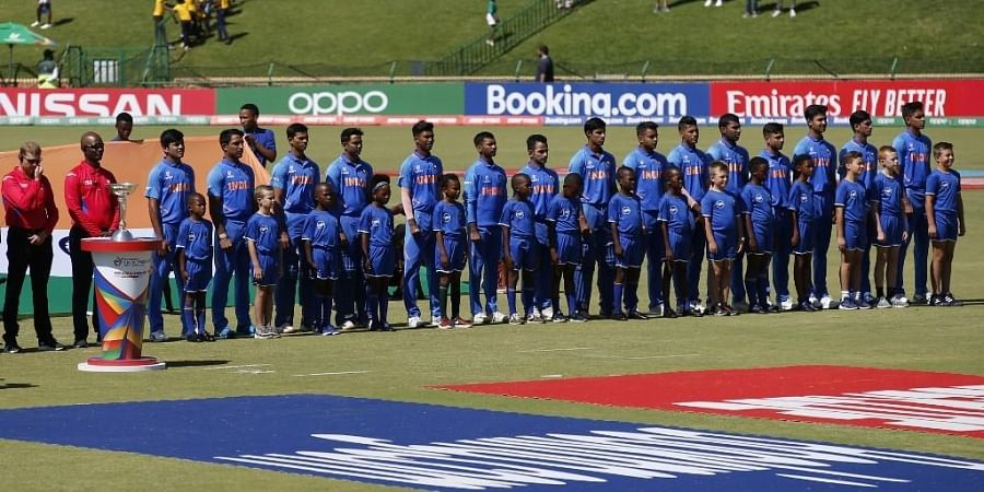 The India cricket team sing their national anthem before the start of the ICC Under-19 World Cup cricket finals between India and Bangladesh. (Photo | AFP)
