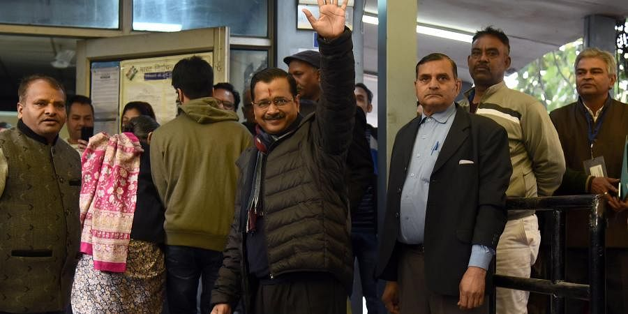 Delhi Chief Minister Arvind Kejriwal before casting his vote at a polling station during the Delhi State Assembly Elections in New Delhi on Saturday.
