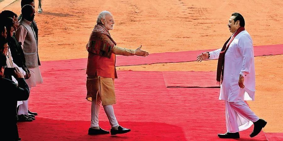 PM Narendra Modi welcomes his Sri Lankan counterpart Mahinda Rajapaksa at Rashtrapati Bhavan.
