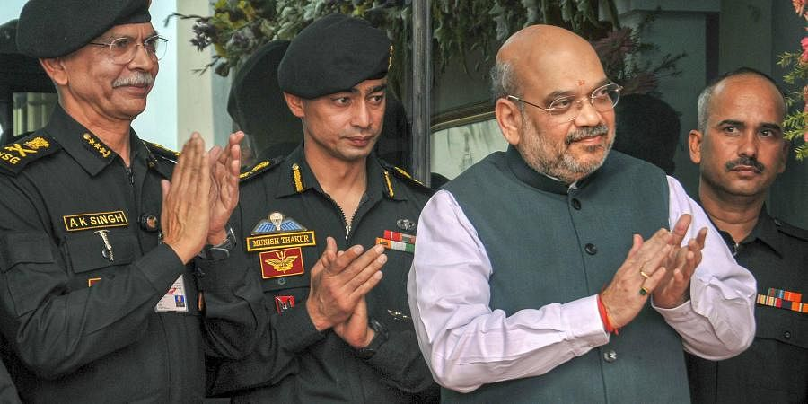 Union Home Minister Amit Shah and NSG DG Anup Kumar Singh L during the inauguration of a new building of the National Security Guards NSG at Rajarhut on the outskirts of Kolkata Sunday.