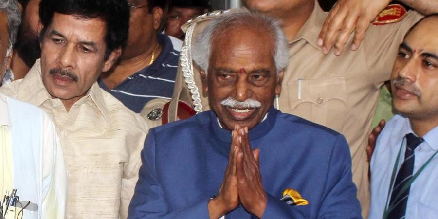 Himachal Pradesh governor Bandaru Dattatreya is seen coming out from Apollo Hospitals, Hyderguda after his health check up in Hyderabad
