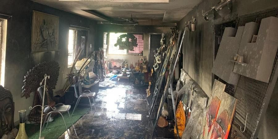 A major fire broke out at Ridhi Sidhi Art Gallery located in an apartment at Banjara Hills on early hour of Monday