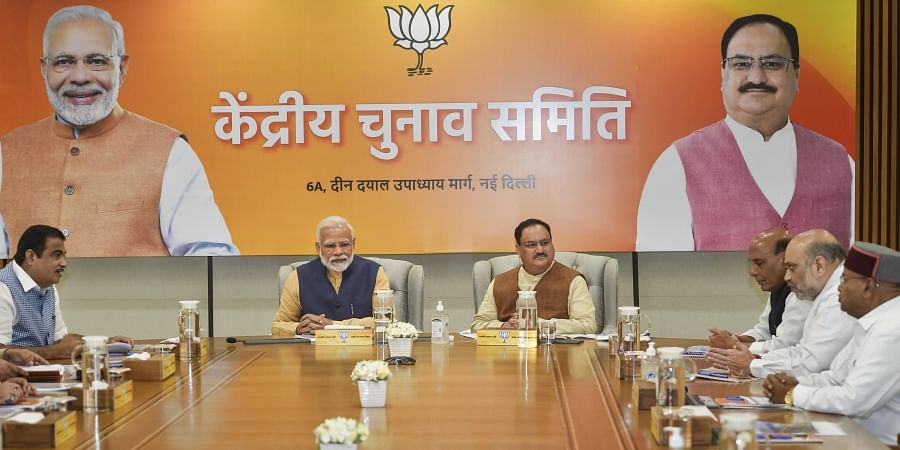 Prime Minister Narendra Modi during Central Election Committee meeting at BJP HQ in New Delhi