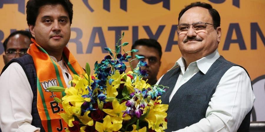Former Congress strongman Jyotiraditya Scindia formally inducted into BJP. (Photo   EPS/Shekhar Yadav)