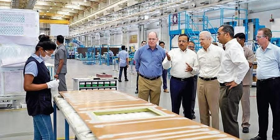 US Ambassador to India Kenneth I Juster at the Tata-Lockheed Martin Aerostructures facility in Hyderabad on Tuesday