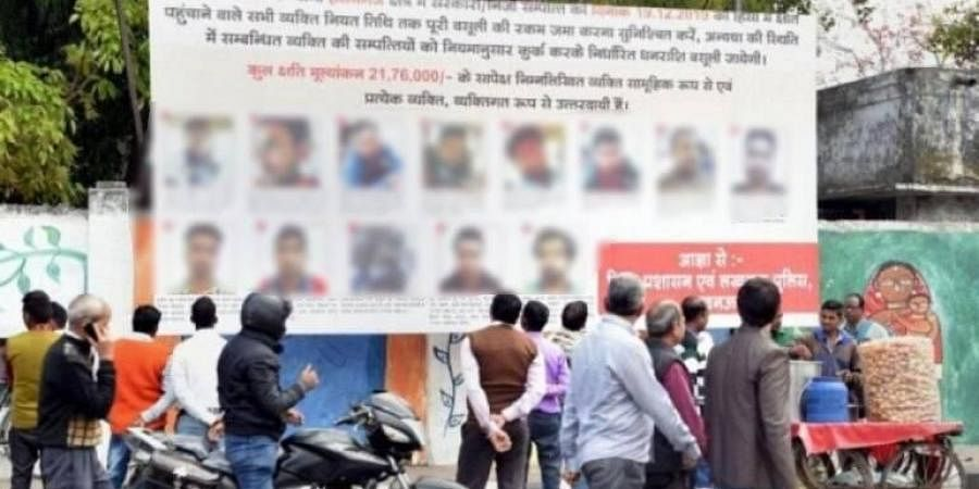 The district administration last week installed hoardings with photographs and addresses of 53 anti-CAA protesters at prominent crossings across Lucknow.