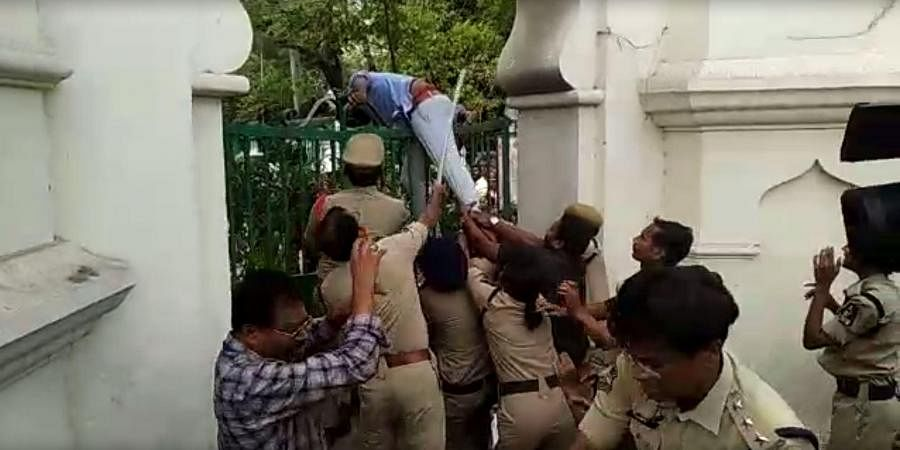 Police lathicharge on ABVP activists trying to enter the Telangana Assembly in Hyderabad on Wednesday