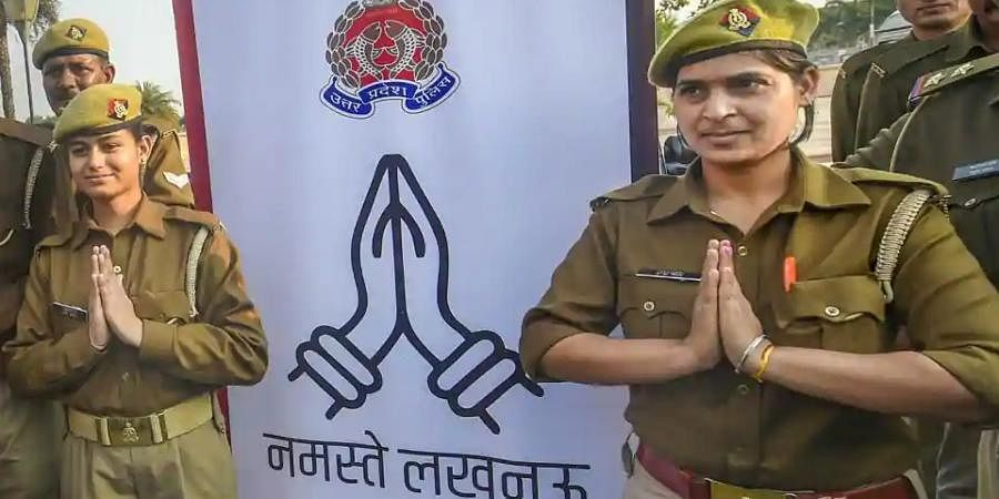 Women police personnel during an inauguration of 'Namaste Lucknow' programme for morning and evening walkers, in Lucknow.