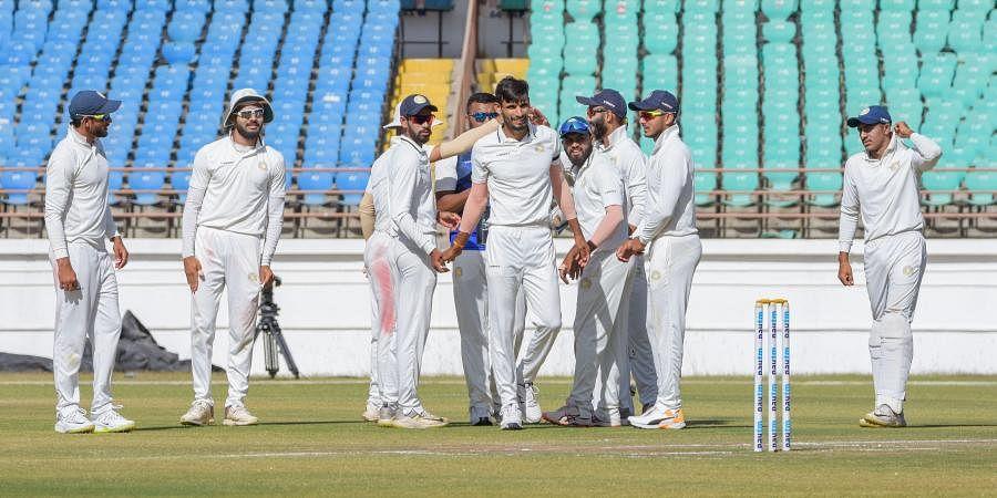 Saurashtra bowler Chirag Jani celebrates after taking wicket of Bengal batsman Manoj Tiwary during the Ranji Trophy final match. (Photo | PTI)
