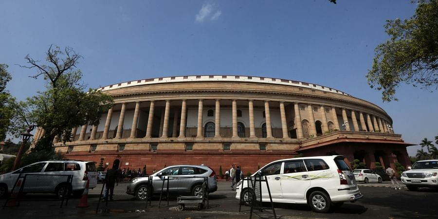 A view of the Parliament house during the ongoing Budget Session in New Delhi on Friday
