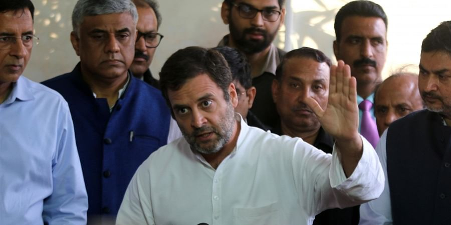 Congress MP Rahul Gandhi speaks to media at Parlaiment in New Delhi on Thursday March 12 2020.