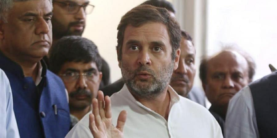 Congress leader Rahul Gandhi addresses the media outside the Parliament house in New Delhi on Thursday.