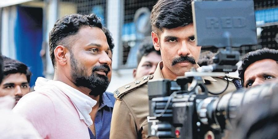 Director U Anbarasan (L) and Sibiraj on the sets of Walter