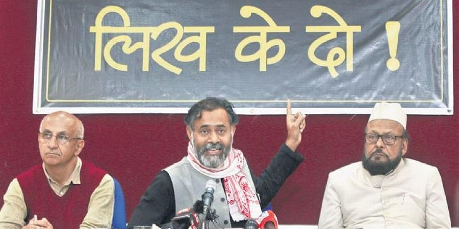 Yogendra Yadav, Harsh Mander and an another representative of 'We the People of India' and 'Alliance Against CAA-NRC-NPR' during a press conference in New Delhi on Saturday.