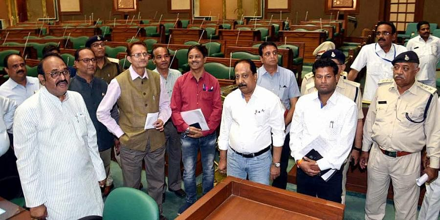 Speaker of the State Assembly NP Prajapati inspects the house ahead of the budget session of the Madhya Pradesh State Assembly in Bhopal