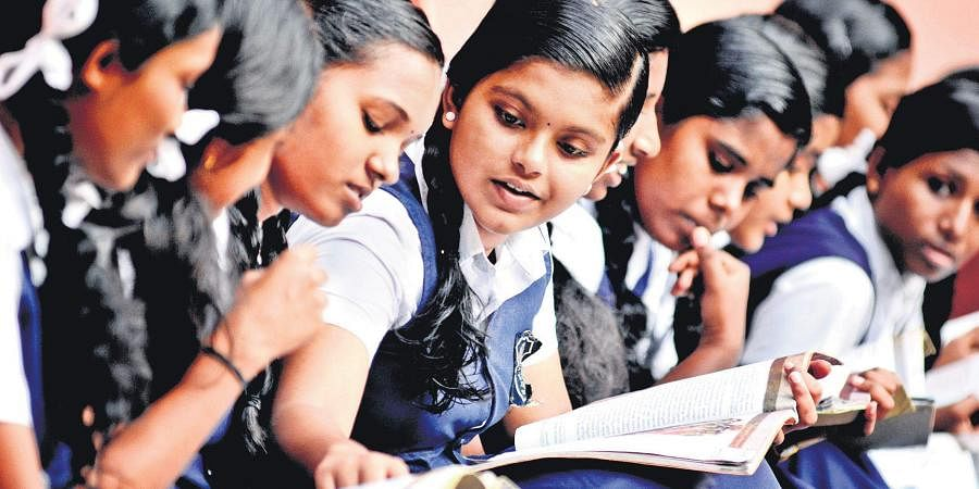 Students of St Vincent Colony Girls' Higher Secondary School in Kozhikode on a revision spree for their SSLC examination which gets under way from Wednesday   Manu R Mavelil