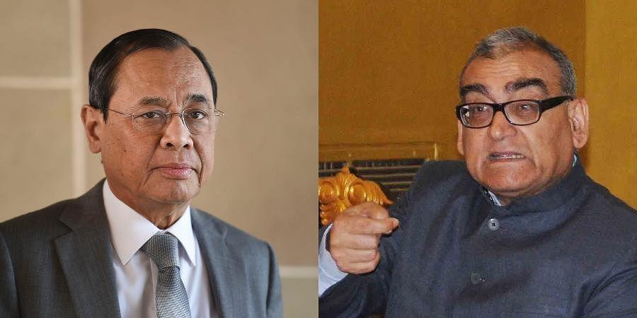 Retired Supreme Court judge Markandey Katju (R) and former CJIRanjan Gogoi