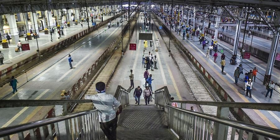 Sparse crowd is seen due to the coronavirus pandemic, at Chhatrapati Shivaji Maharaj Terminus in Mumbai, Tuesday, March 17, 2020.